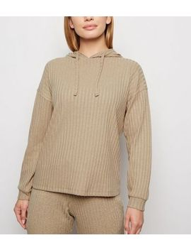 Petite Camel Ribbed Hoodie by New Look