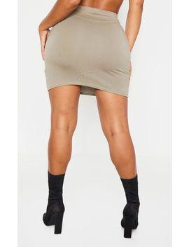 Shape Khaki Cotton High Waist Bodycon Skirt by Prettylittlething
