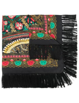 Fringed Floral Print Scarf by Etro