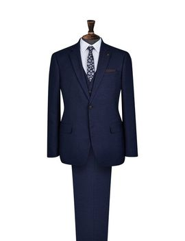 3 Piece Navy Marl Tailored Fit Suit by Burton