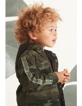 Camouflage Jersey Lined Hooded Shacket (3mths 7yrs) by Next