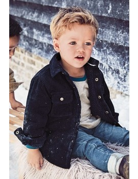 Navy Cord Cosy Borg Lined Shacket (3mths 7yrs) by Next