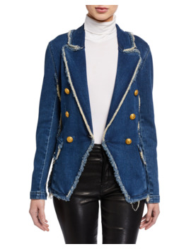 Kaydence Double Breasted Frayed Denim Blazer by L'agence