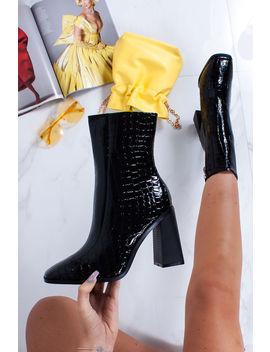 Perrie Black Croc Print Block Heel Ankle Boots by Lavish Luxe