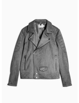 Grey Faux Suede Biker Jacket by Topman