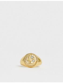 Reclaimed Vintage Inspired – 14 Karätig Vergoldeter Siegelring Mit Mond  Und Sterndesign by Asos
