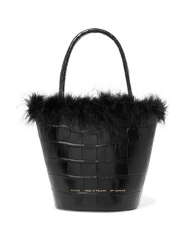 Feather Trimmed Croc Effect Leather Tote by Chylak