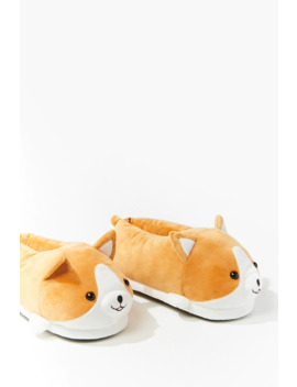 Plush Corgi Slippers by Forever 21