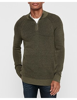 Plaited Ribbed Mock Neck Quarter Zip Sweater by Express