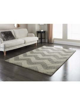 Tonal Chevron Rug   Grey 110 X 160cm by B&M