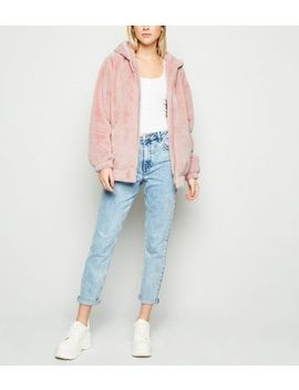 Pink Faux Fur Hooded Bomber Jacket by New Look