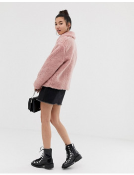 New Look   Veste Pelucheuse Avec Boutons   Rose by New Look