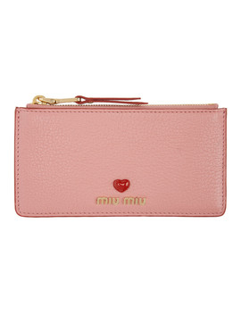 Pink Love Zip Card Holder by Miu Miu