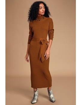 Right Beside Me Brown Turtleneck Midi Sweater Dress by Lulus