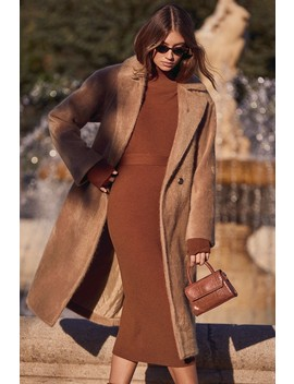 Neptune Camel Brown Faux Fur Long Coat by Lulus
