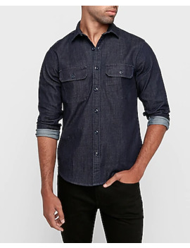 Slim Two Pocket Denim Shirt by Express