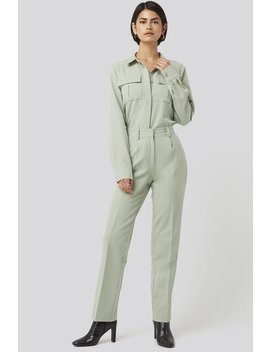 Creased Mid Rise Suit Pants Zielony by Nakdclassic