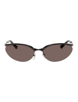 Black Fire Rectangular Sunglasses by Balenciaga