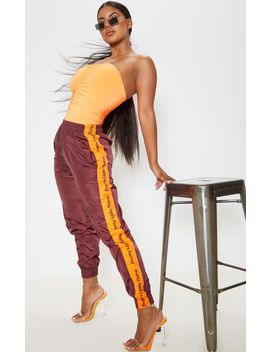 Prettylittlething Burgundy Side Tape Shell Jogger by Prettylittlething