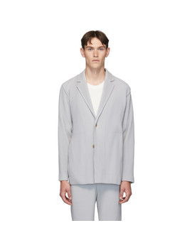 Grey Pleated Basics Blazer by Homme PlissÉ Issey Miyake