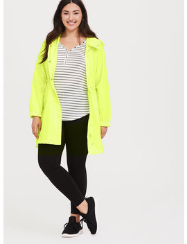 Neon Yellow Nylon Longline Hooded Rain Jacket by Torrid