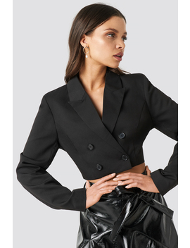 Double Breasted Cropped Blazer Noir by Chloe B X Na Kd