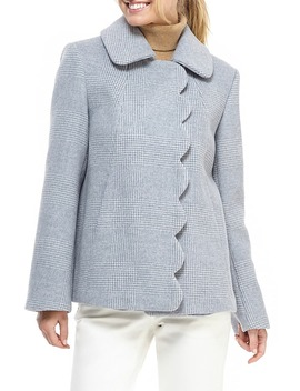 Aubrey Scalloped Houndstooth Check Coat by Gal Meets Glam Collection