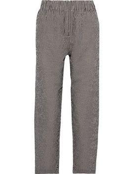 Ganache Gingham Cotton Seersucker Straight Leg Pants by Ganni