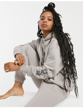Les Girls Les Boys Logo Hoodie In Stone by Les Girls Les Boys