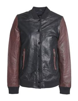 Two Tone Leather Bomber Jacket by Muubaa