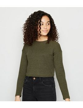 Girls Khaki Ribbed Boxy Jumper by New Look