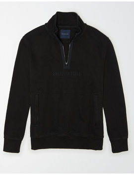 Ae Fleece Graphic Quarter Zip Pullover Sweatshirt by American Eagle Outfitters