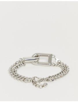 Asos Design – Silverfärgat Kedjearmband Med Länkdetalj by Asos Design
