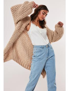 Premium Stone Hand Knit Chunky Cardigan by Missguided