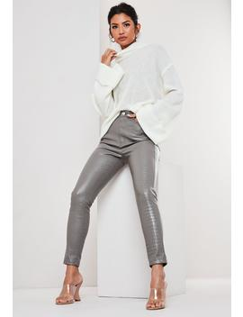 Grey Croc Effect Faux Leather Slim Leg Pants by Missguided