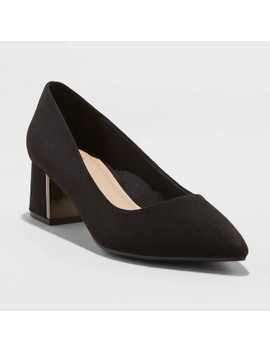 Women's Fern Microsuede Low Block Heeled Pumps   A New Day™ Black by A New Day