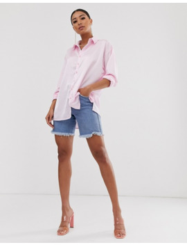 Oversized Satinskjorte I Pink Fra Missguided by Missguided's