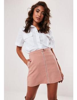 Petite Pink Faux Suede Zip Front Mini Skirt by Missguided