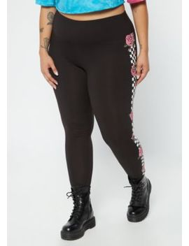 Plus Black Rose Checkered Print Wide Waistband Leggings by Rue21