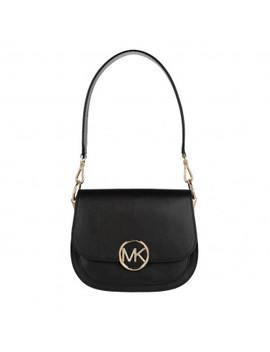 Lillie Medium Saddle Shopping Bag Black by Michael Kors