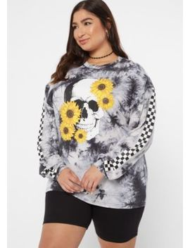 Plus Black Tie Dye Sunflower Skull Graphic Tee by Rue21