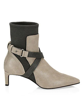 Monili Cross Strap Buffered Leather Sock Boots by Brunello Cucinelli