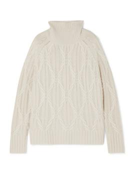 Merya Cable Knit Cashmere Turtleneck Sweater by Nili Lotan