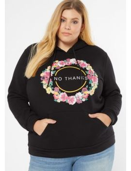 Plus Black Floral Print No Thanks Graphic Hoodie by Rue21