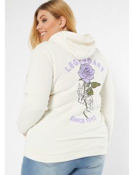 Plus Ivory Legendary Skeleton Graphic Hoodie by Rue21
