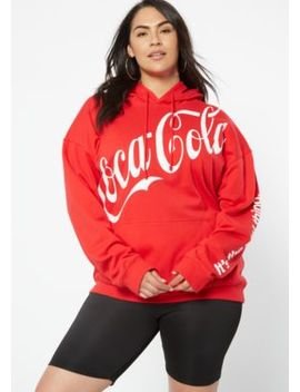Plus Red Slanted Coke Graphic Hoodie by Rue21