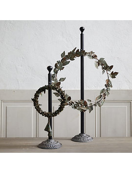 Antiqued Iron Standing Wreath Hanger by Terrain