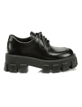 Lug Sole Polished Leather Creepers by Prada