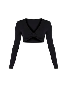 Black Jersey Plunge Knot Front Long Sleeve Crop Top by Prettylittlething