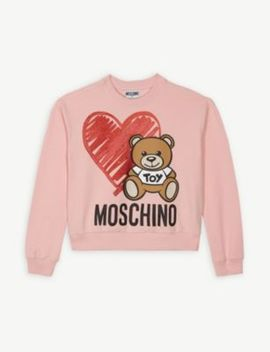 Teddy Glitter Heart Cotton Blend Jumper 4 14 Years by Moschino